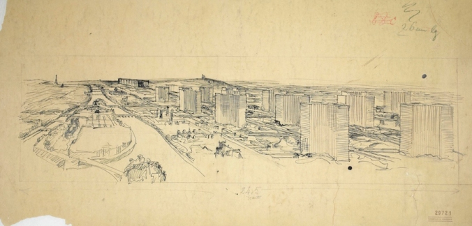 Le Corbusier, (1887-1965), Purism and the white architecture of the 1920's (1917 - 1929), Plan voisin for Paris, 1925, Drawing, from Fondation Le Corbusier