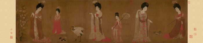 Zhou_Fang._Court_Ladies_Wearing_Flowered_Headdresses._(46x180)_Liaoning_Provincial_Museum,_Shenyang.